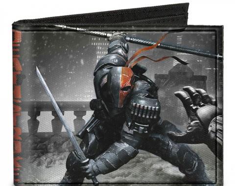 Canvas Bi-Fold Wallet - DEATHSTROKE Arkham Origins Action Pose/Snow Grays/Red