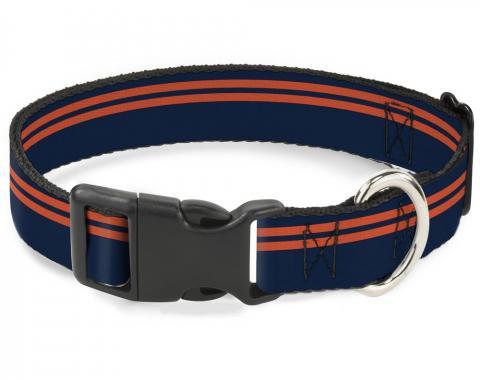 Buckle-Down Plastic Buckle Dog Collar - Racing Stripe Navy/Orange