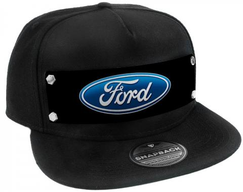 Embellishment Trucker Hat BLACK - Full Color Strap - Ford Oval Logo Black/Blue
