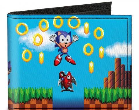 SONIC CLASSIC  Canvas Bi-Fold Wallet - Sonic Pixelated Run/Game Over Fall Scene2