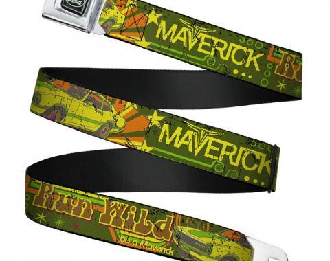 Ford Emblem Seatbelt Belt - Vintage Ford MAVERICK-RUN WILD BE A MAVERICK Greens/Yellows