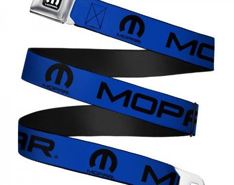 MOPAR Logo Full Color Black/White Seatbelt Belt - MOPAR Text/Logo Blue/Black Webbing