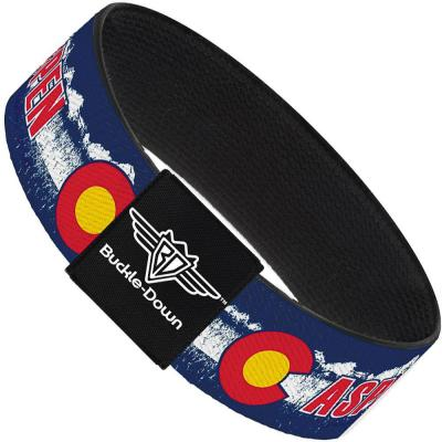 Buckle-Down Elastic Bracelet - Colorado ASPEN Flag/Snowy Mountains Weathered Blue/White/Red/Yellows