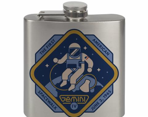 Stainless Steel Flask - 6 OZ - GEMINI IV-THE FIRST AMERICAN SPACEWALK Yellow/Blues