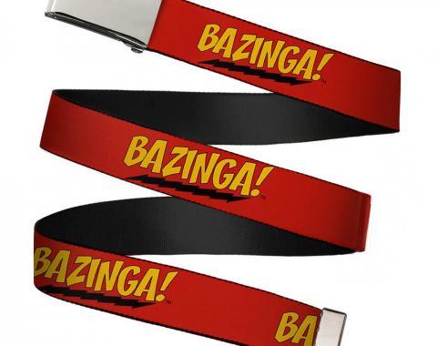 "Blank Chrome 1.5"" BO Buckle - BAZINGA! Red/Gold/Black Webbing"