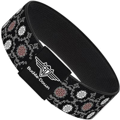 Buckle-Down Elastic Bracelet - Tapestry 1 Black