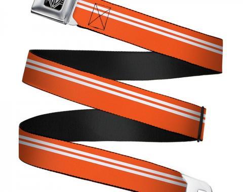 Seatbelt Belt - Racing Stripe Orange/White