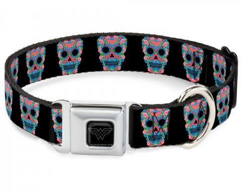 Dog Collar WWE-Wonder Woman Black/Silver - Wonder Woman Floral Skull Black/Multi Pastel