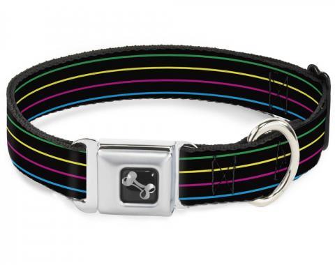 Buckle-Down Seatbelt Buckle Dog Collar - Pinstripes Black/Multi Color