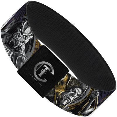 "AVENGERS: INFINITY WAR  Elastic Bracelet - 1.0"" - Infinity War 4-Villains Group Black/Purples/Grays/Gold"