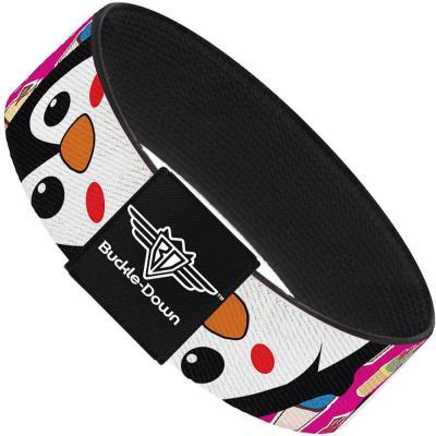Buckle-Down Elastic Bracelet - Penguins w/Cupcakes Fuchsia/Multi Color