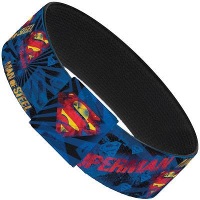 "Elastic Bracelet - 1.0"" - SUPERMAN MAN OF STEEL Shield Collage/Rays Black/Blues/Reds/Yellows"
