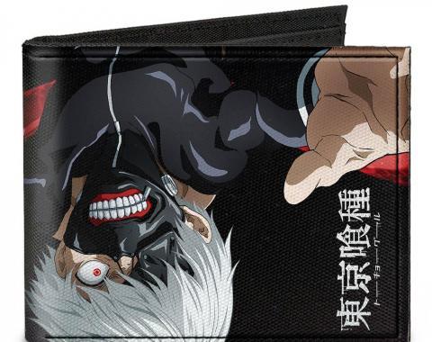 Canvas Bi-Fold Wallet - Masked Ken Kaneki Upside Down + TOKYO GHOUL Black/White/Red