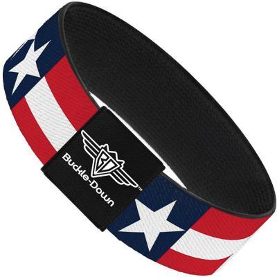 Buckle-Down Elastic Bracelet - Stars & Stripes Blue/White/Red/White