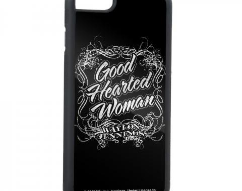 Rubber Cell Phone Case - BLACK - WAYLON JENNINGS-GOOD HEARTED WOMAN Script FCG Black/White