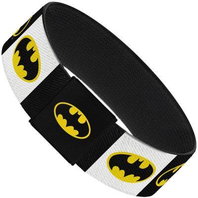 "Elastic Bracelet - 1.0"" - Batman Shield Blocks White/Black/Yellow"
