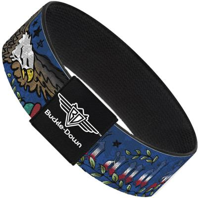 Buckle-Down Elastic Bracelet - Truth and Justice Blue