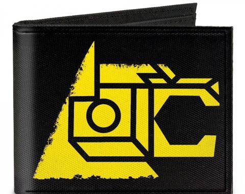 Canvas Bi-Fold Wallet - Voltron Lion Symbol + Logo/Stripe Black/Yellow/Multi Color