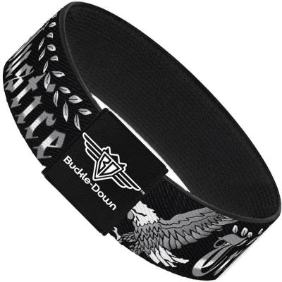 Buckle-Down Elastic Bracelet - Truth and Justice Black/White