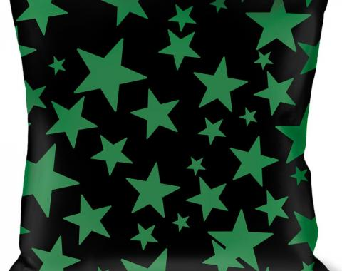 Buckle-Down Throw Pillow - Stars Scattered Black/Green