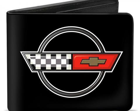 Bi-Fold Wallet - Corvette C4 Checker/Bowtie Logo Black