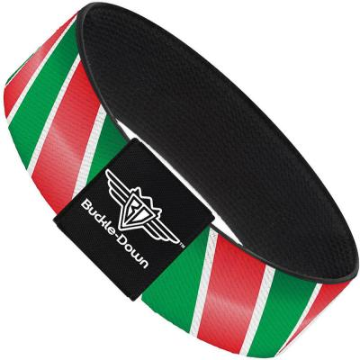 Buckle-Down Elastic Bracelet - Candy Cane4 White/Red/Green