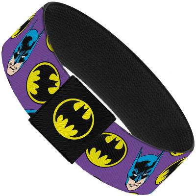 "Elastic Bracelet - 1.0"" - Batman Face/Bat Signal Scattered Purple"