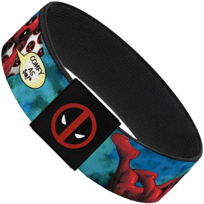"MARVEL DEADPOOL Elastic Bracelet - 1.0"" - Deadpool Lying Down Pose COMFY AS $#!* Quote Blues"