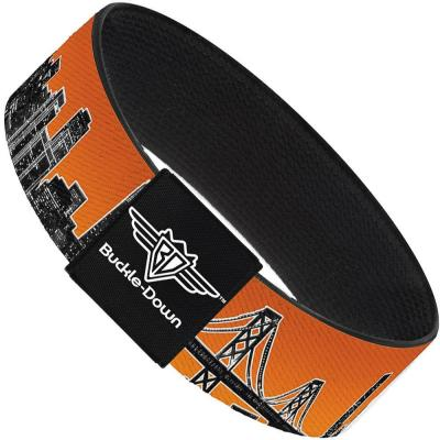 Buckle-Down Elastic Bracelet - San Francisco Vivid Skyline Orange Fade/Black