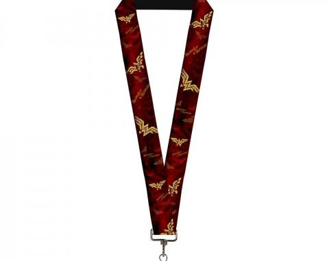 """Lanyard - 1.0"""" - WONDER WOMAN Logo/Text Scattered Rays Weathered Burgundy/Gold"""