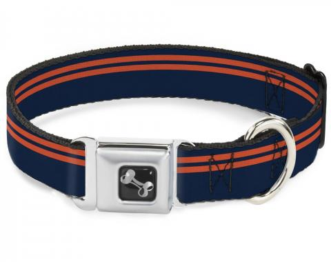Buckle-Down Seatbelt Buckle Dog Collar - Racing Stripe Navy/Orange