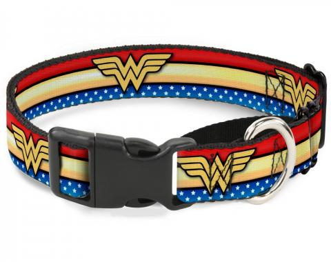 Plastic Martingale Collar - Wonder Woman Logo Stripe/Stars Red/Gold/Blue/White