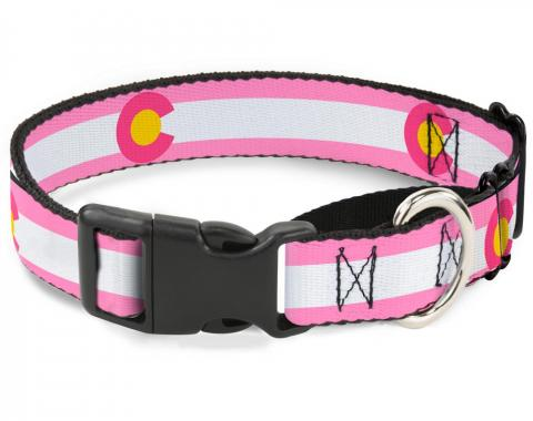 Plastic Martingale Collar - Colorado Flags5 Repeat Light Pink/White/Pink/Yellow
