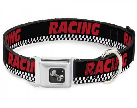 Buckle-Down Seatbelt Buckle Dog Collar - RACING/Checker Black/White/Red
