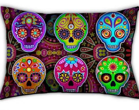 Pillowcase - STANDARD - Six Sugar Skulls Multi Color