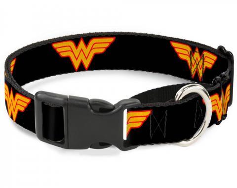 Plastic Martingale Collar - Wonder Woman Logo Black