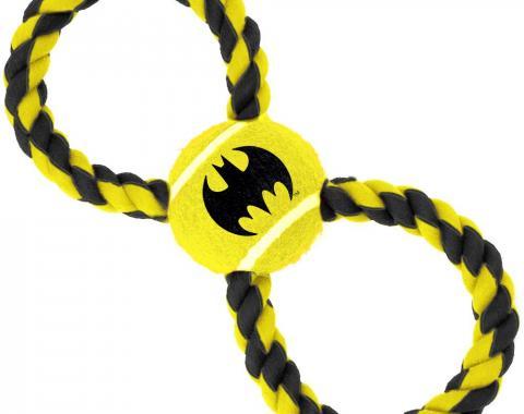 Dog Toy Rope Tennis Ball - Batman Bat Icon Yellow/Black + Black/Yellow Rope