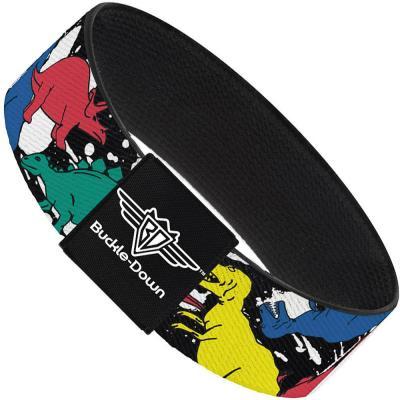 Buckle-Down Elastic Bracelet - Dinosaurs/Paint Splatter Black/White/Multi Color