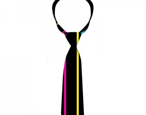Buckle-Down Necktie - Pinstripes Black/Multi Color