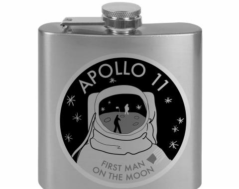 Stainless Steel Flask - 6 OZ - APOLLO 11-FIRST MAN ON THE MOON Tonal Grays
