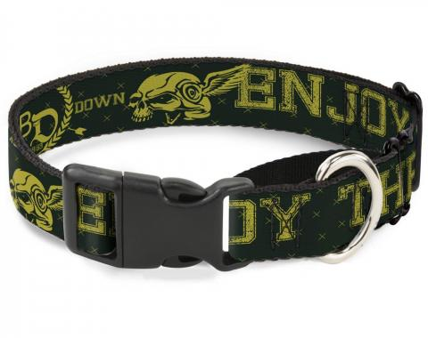 Plastic Martingale Collar - BD Winged Skull ENJOY THE RIDE Olive/Lime Green
