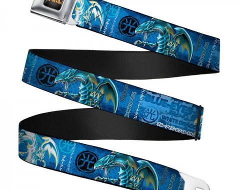 YU-GI-OH! Logo Full Color Black-Fade/Gold Seatbelt Belt - BLUE-EYES WHITE DRAGON Pose/LIGHT Kanji Blues/White/Black Webbing