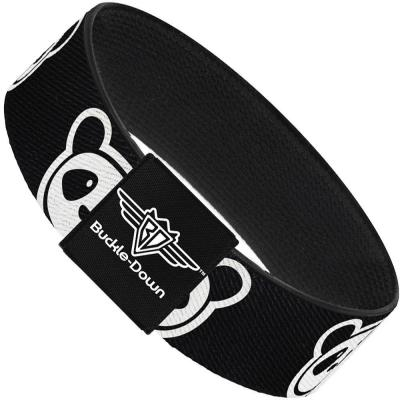 Buckle-Down Elastic Bracelet - Panda Bear Cartoon2 Black/White
