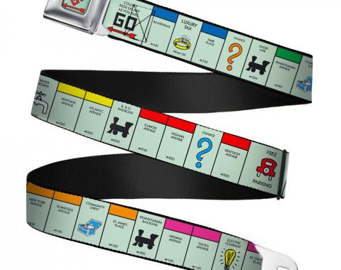 Monopoly GO Space Full Color Seatbelt Belt - American Monopoly Board Game Spaces Webbing