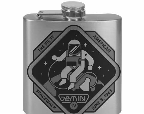 Stainless Steel Flask - 6 OZ - GEMINI IV-THE FIRST AMERICAN SPACEWALK Tonal Grays
