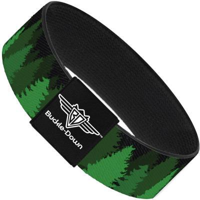 Buckle-Down Elastic Bracelet - Pine Tree Silhouettes Black/Greens