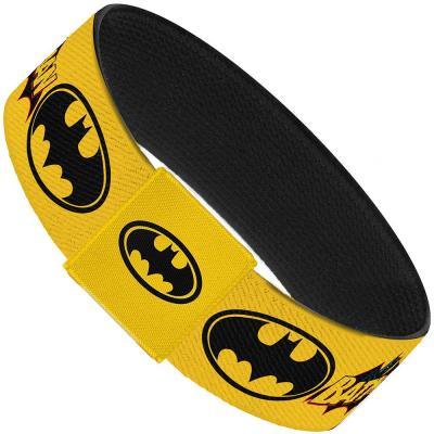 """Elastic Bracelet - 1.0"""" - Vintage Batman Logo & Bat Signal-3 Yellow"""