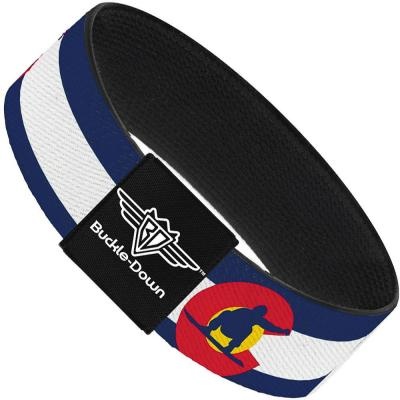 Buckle-Down Elastic Bracelet - Colorado Flag/Snowboarder Blue/White/Red/Yellow