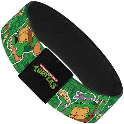 "Elastic Bracelet - 1.0"" - I ""HEART"" TMNT/Classic Turtles & Pizza Green"