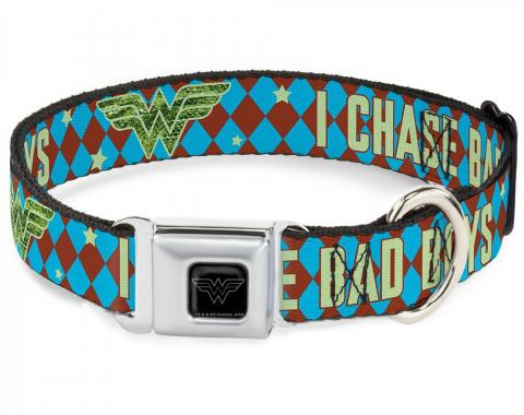 Dog Collar WWE-Wonder Woman Black/Silver - Wonder Woman Logo/I CHASE BAD BOYS Diamonds Blue/Brown